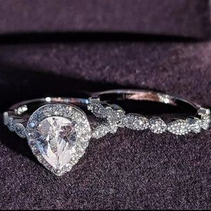 Pear Cut Teardrop Shape Halo Bridal Set